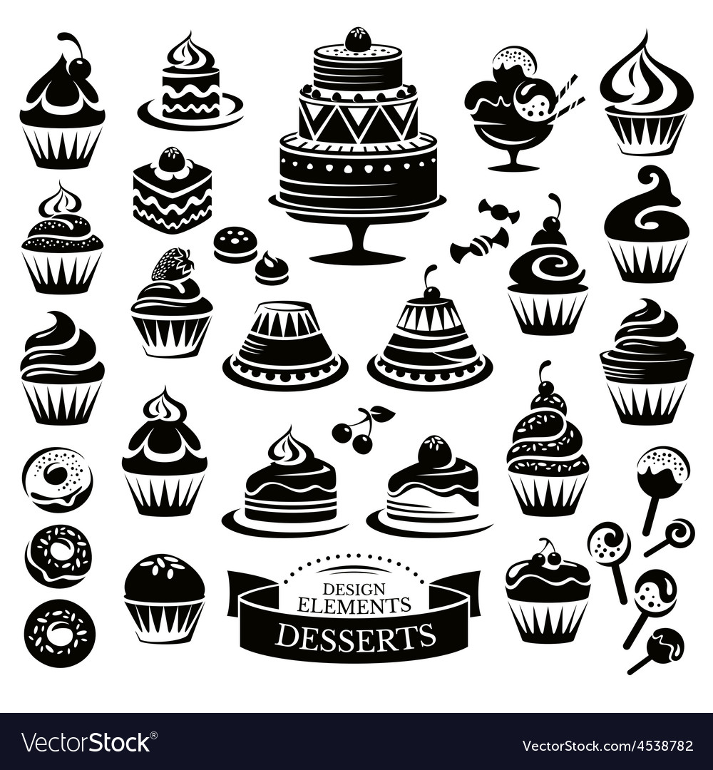 Set of desserts design elements vector image