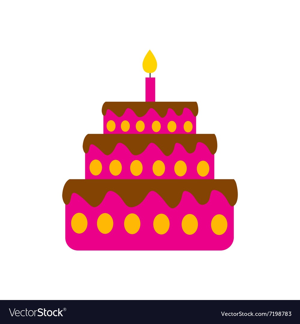Flat icon on white background birthday cake