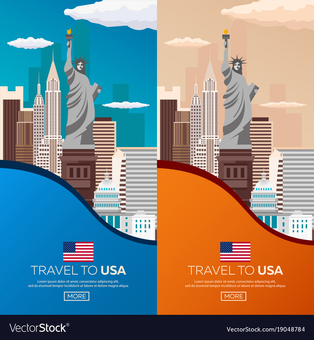 Set travel to usa new york poster skyline statue vector image