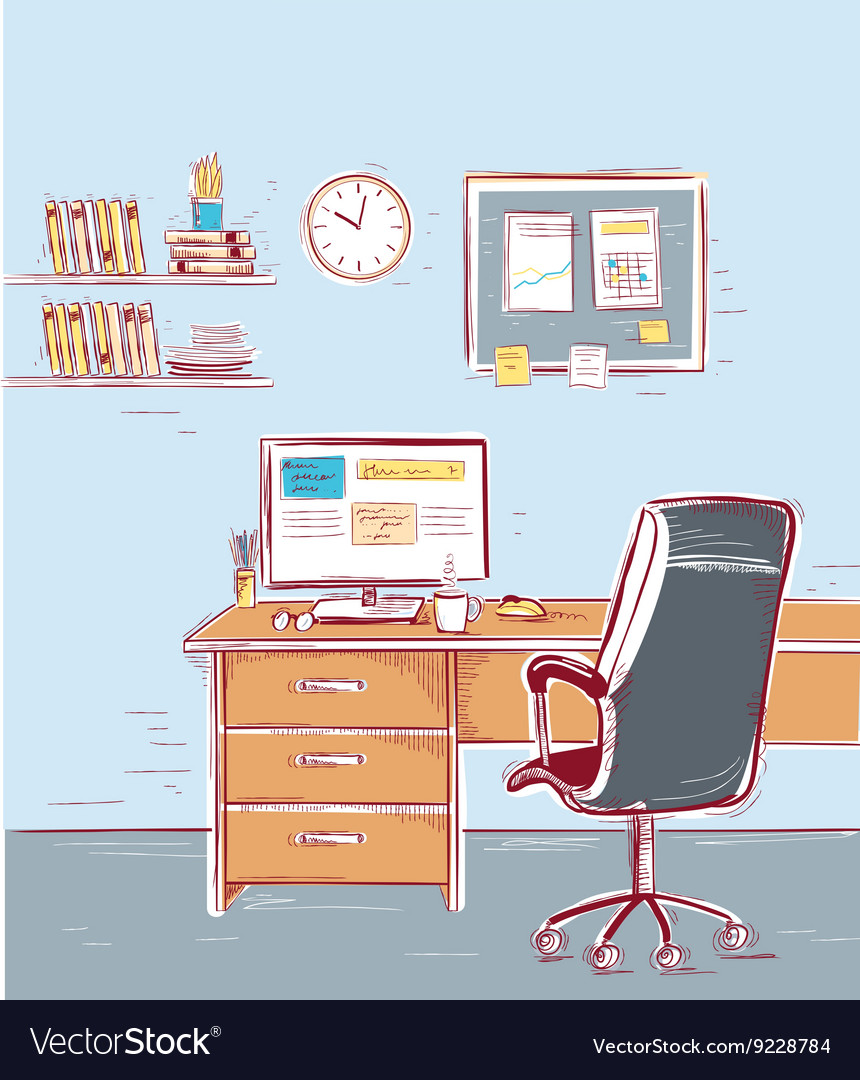Sketchy color of office interior room vector image