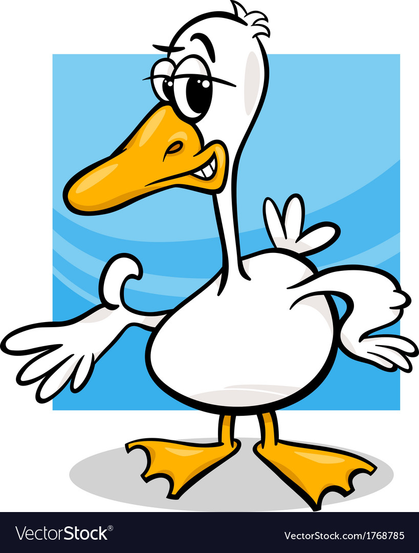 Duck or goose cartoon farm bird vector image