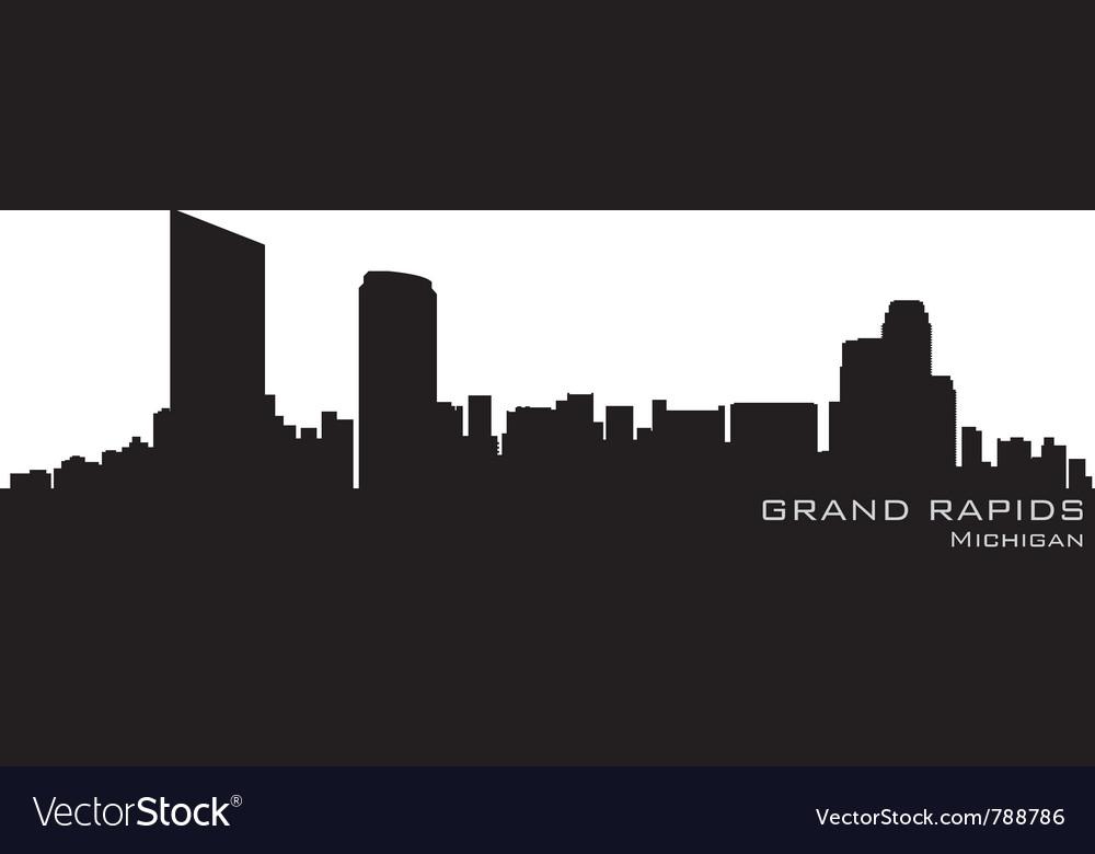 Grand rapids michigan skyline detailed silhouette vector image