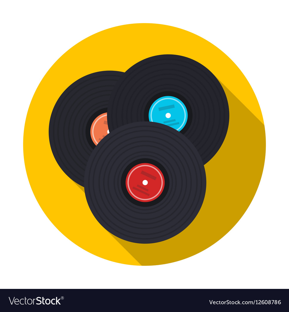 Vinyl records icon in flat style isolated on white vector image
