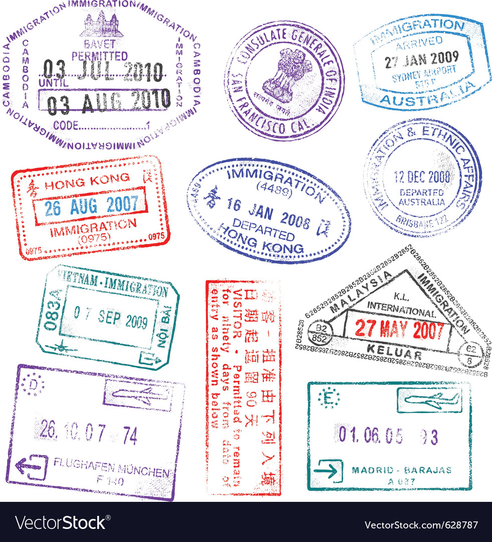 Highly detailed passport stamps Vector Image