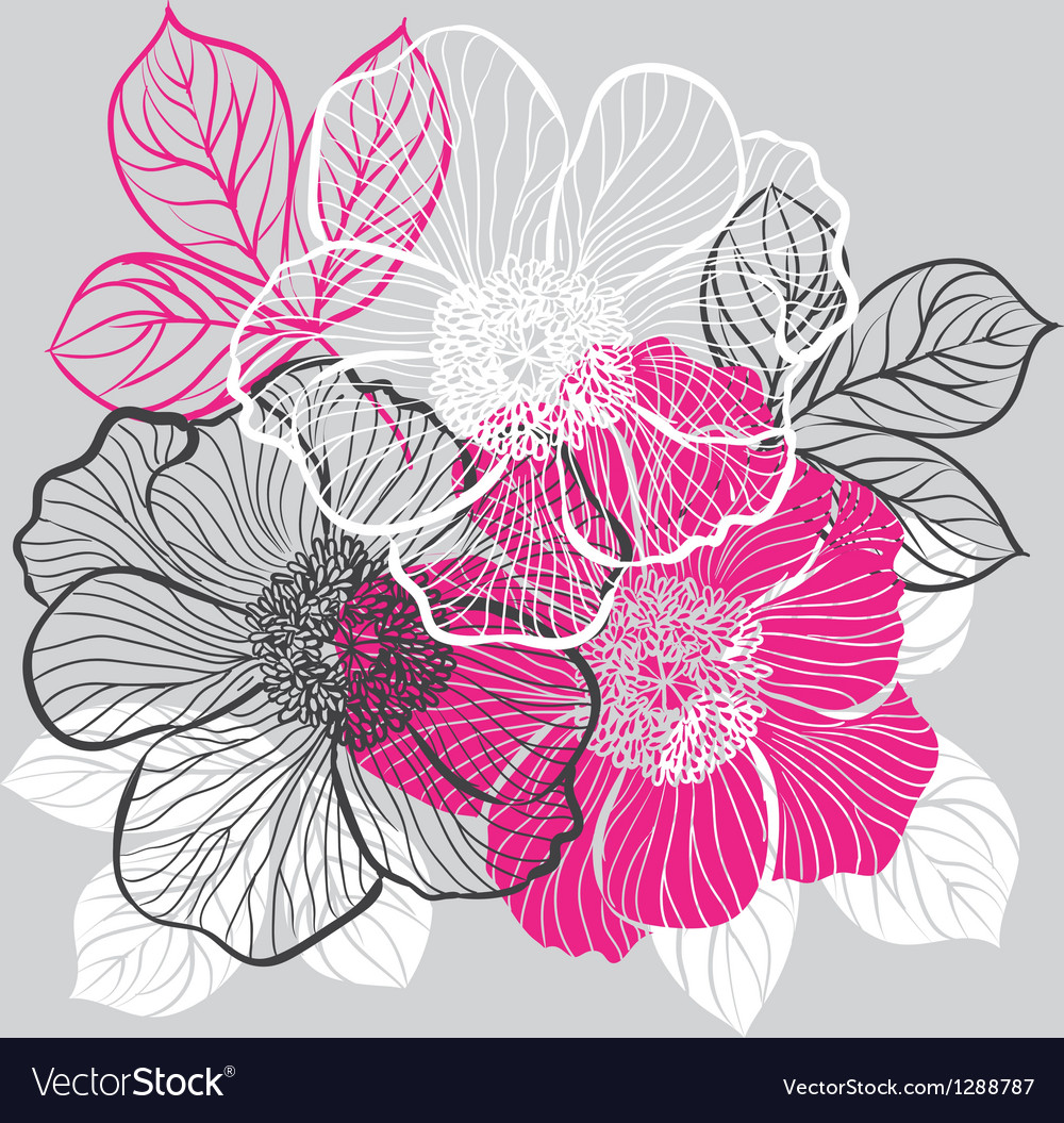 Floral background with flowers of peony vector image