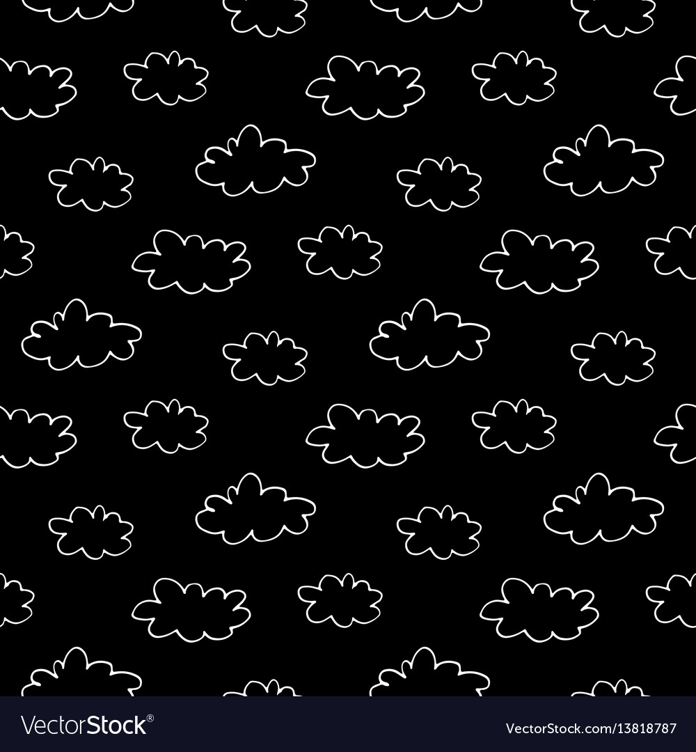 Hand drawn clouds seamless pattern vector image