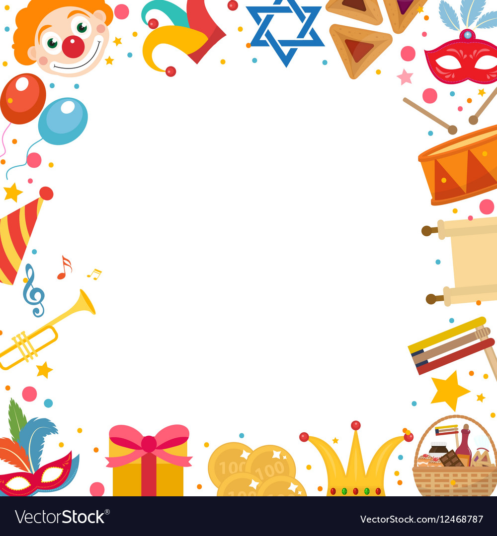 Purim frame template with space for text isolated vector image