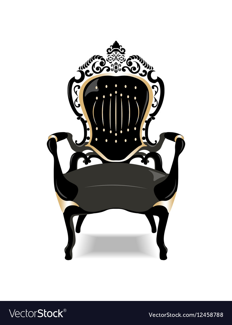 Antique chair silhouette - Vintage Baroque Golden Chair Vector Image