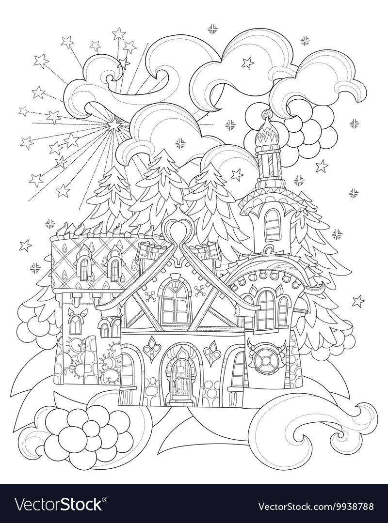 Cute christmas fairy tale town doodle vector image