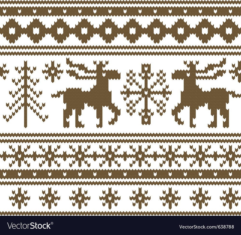 Seamless knitted christmas pattern vector image