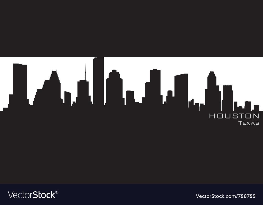 Houston texas skyline detailed silhouette vector image