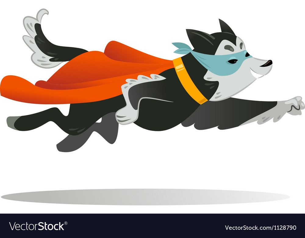 Flying super hero dog in the fly vector image