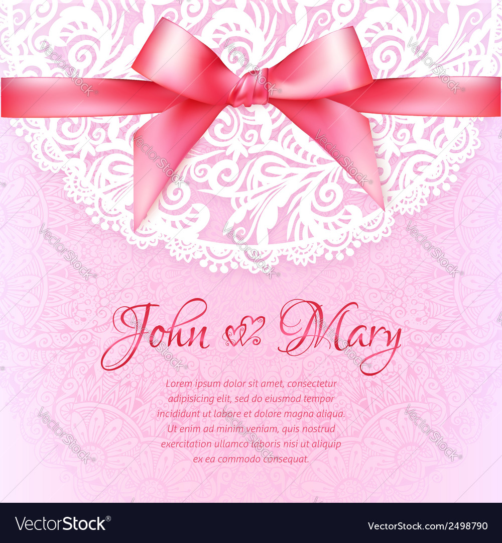 Pink Lacy Vintage Wedding Greeting Card Template Vector Image