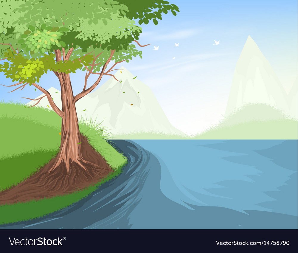 Tree and lake scene