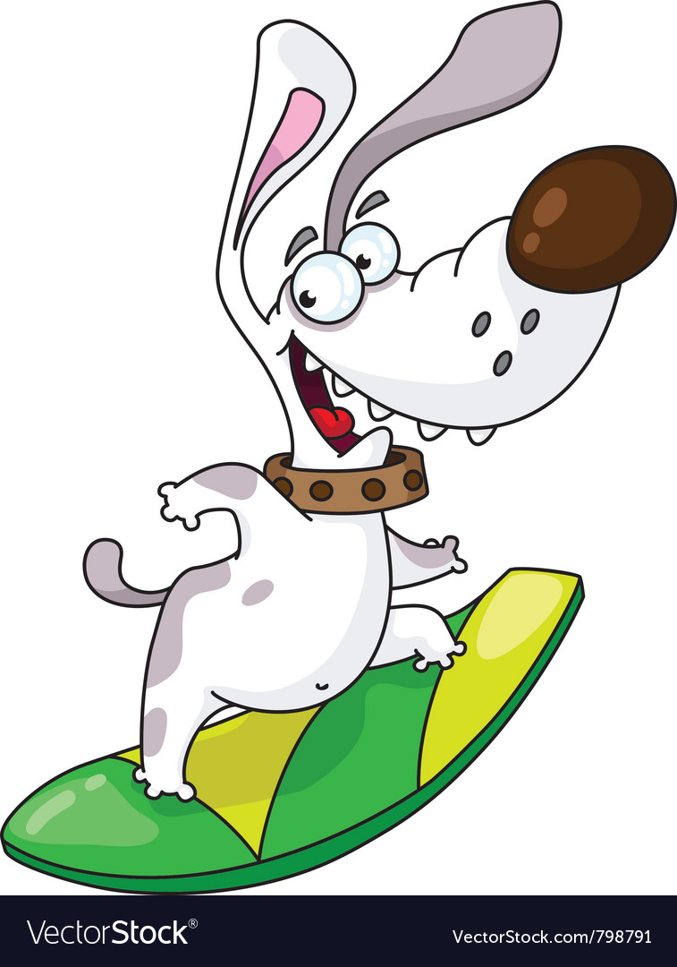 Dog and surfing vector image