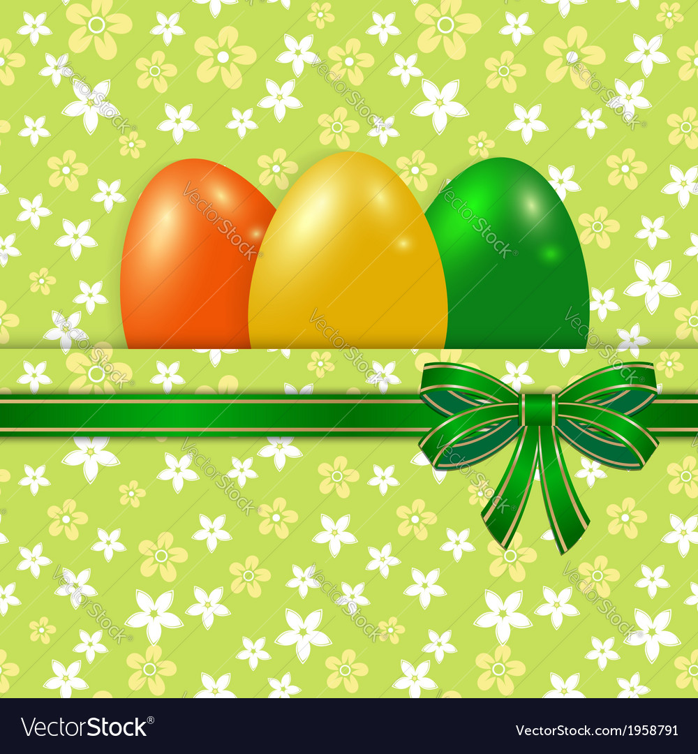 Easter card template with bow green vector image