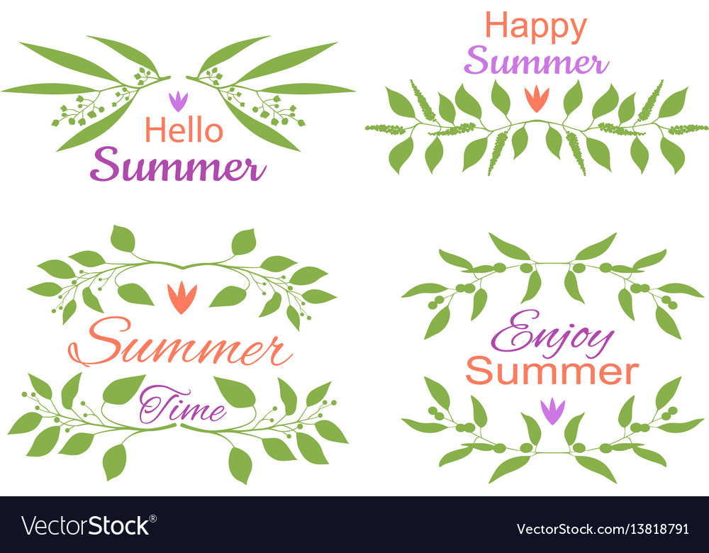 Elegant floral decorative elements set with summer vector image