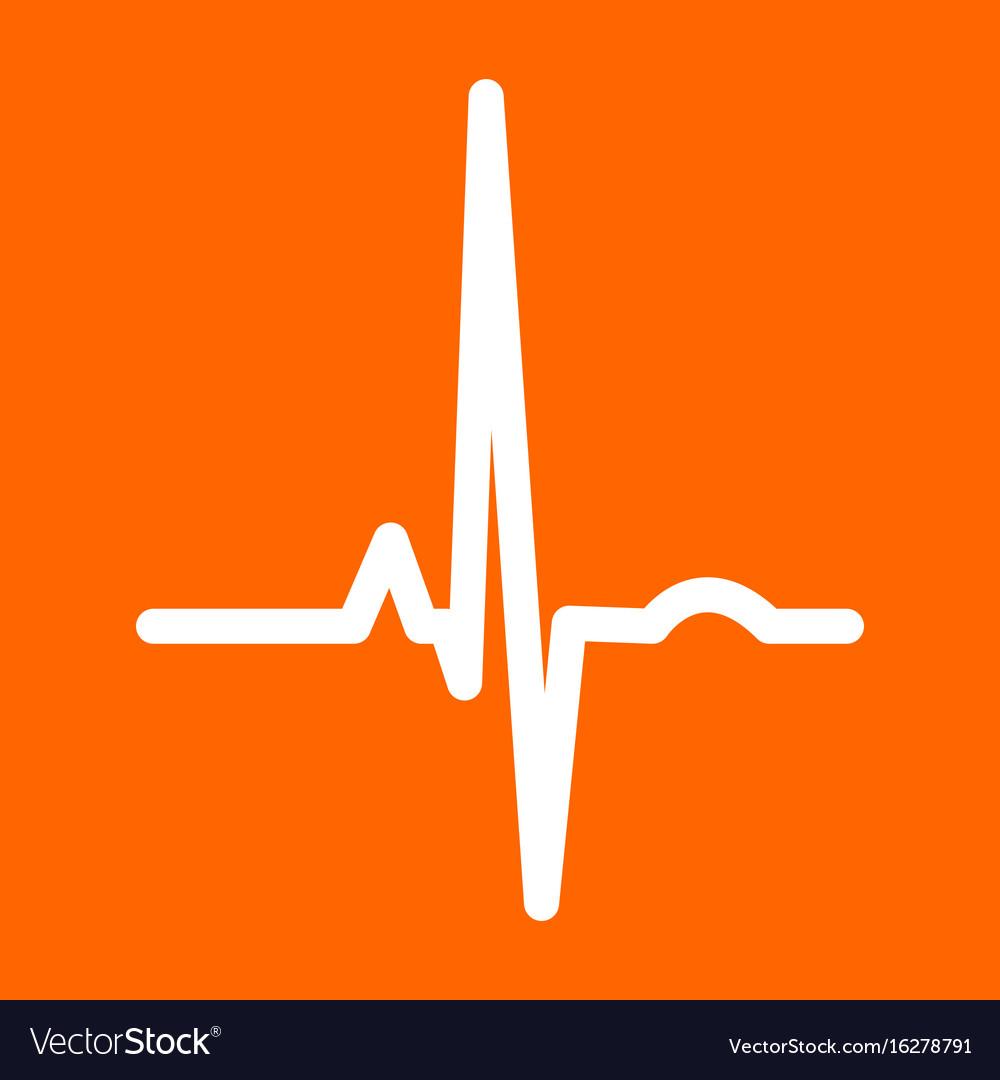Heart rhythm ekg white icon vector image