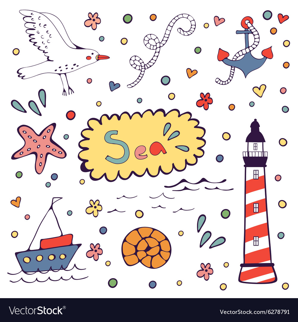 Sea doodles vector image