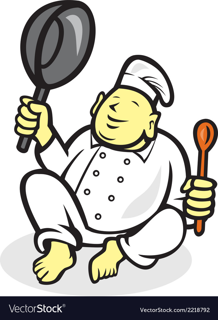Fat Buddha Chef Cook Sitting Cartoon vector image