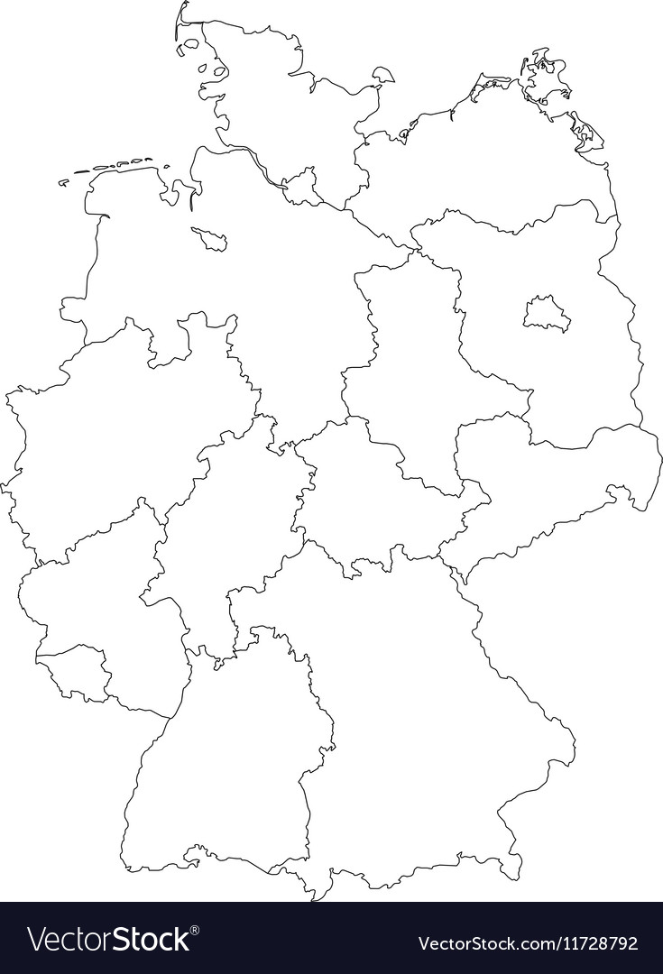 Outline Map Of Germany With Transparent German Flag In - Outline map of germany with states