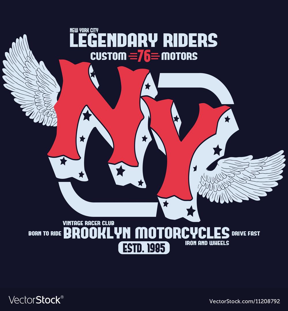 Motorcycle Brooklyn t-shirt print vector image