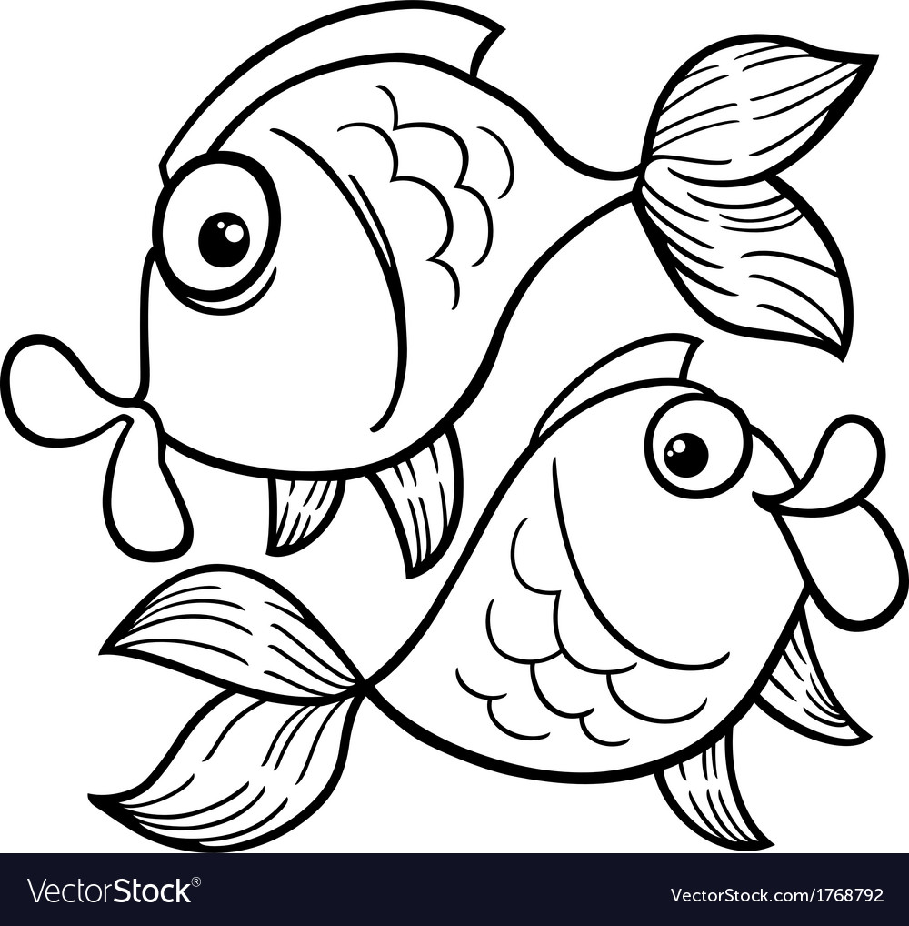 zodiac pisces or fish coloring page royalty free vector