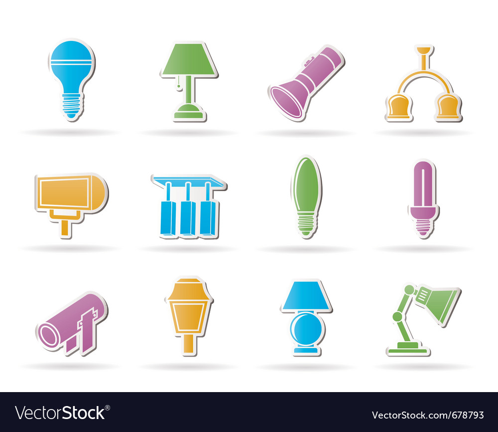 Different kind of lighting equipment Royalty Free Vector