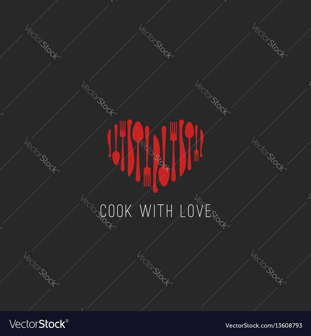 Menu logo restaurant tableware fork spoon knife vector image