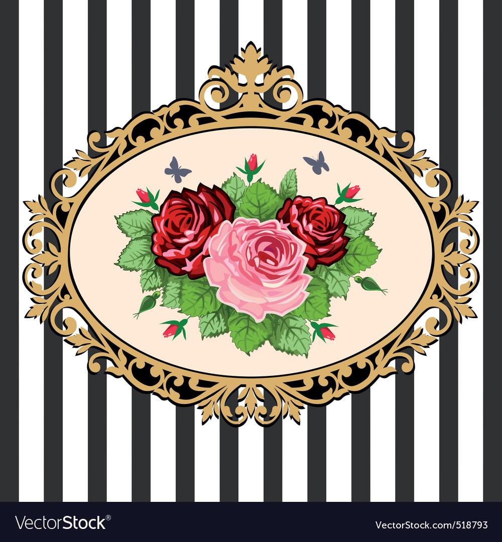 Vintage rose bouquet frame vector image