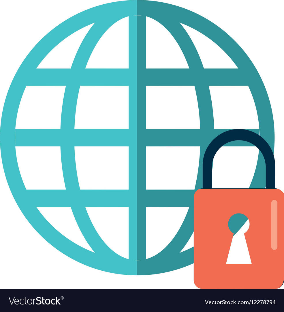 Global connection lock security system technology vector image