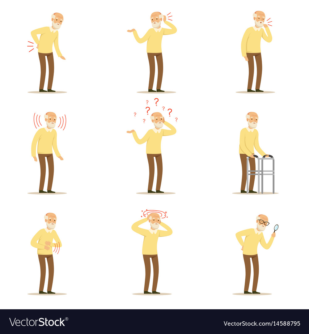Elderly man diseases pain problem in back neck vector image