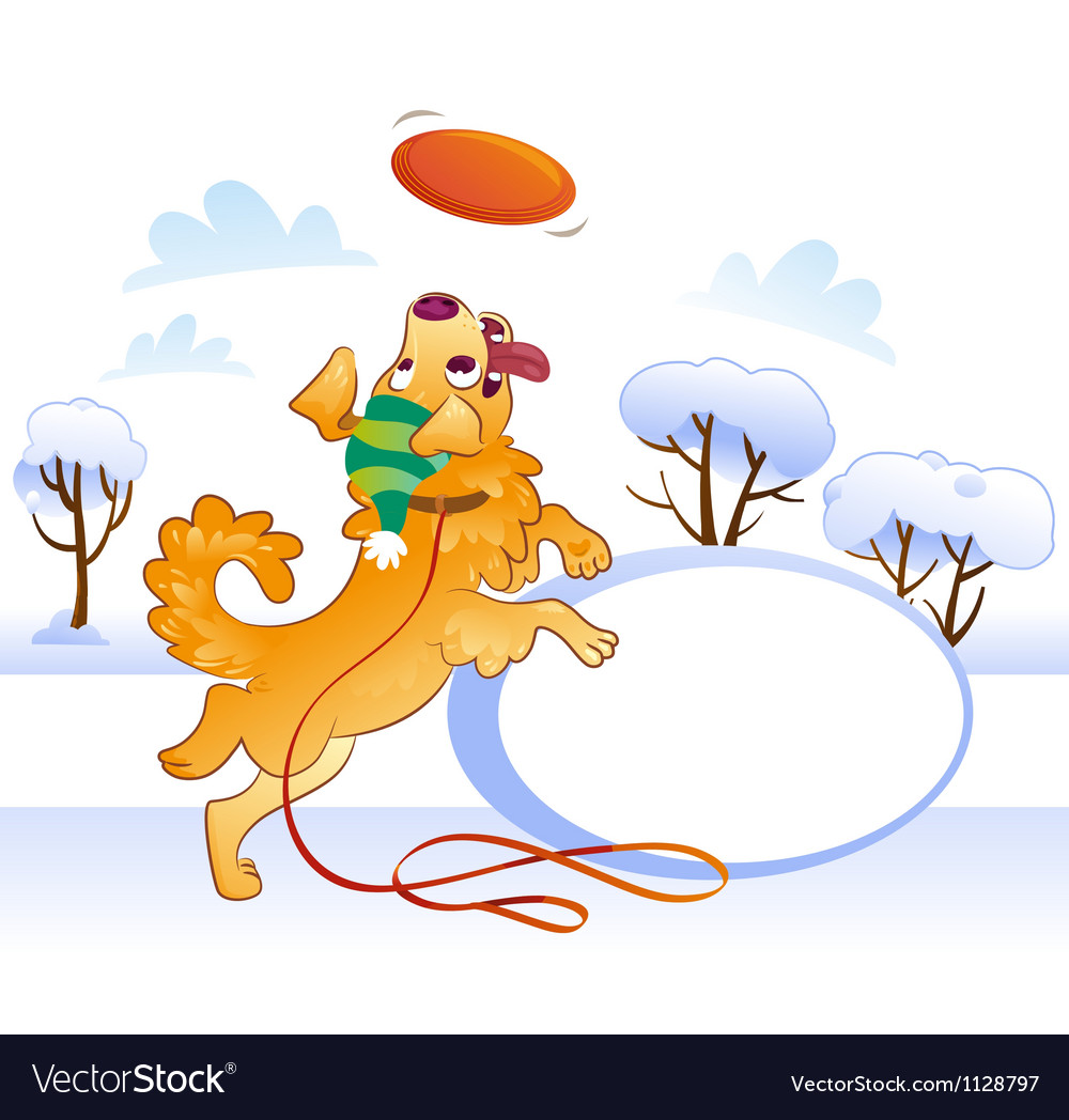 Card Design with Retriever Catching Disc in Jump vector image