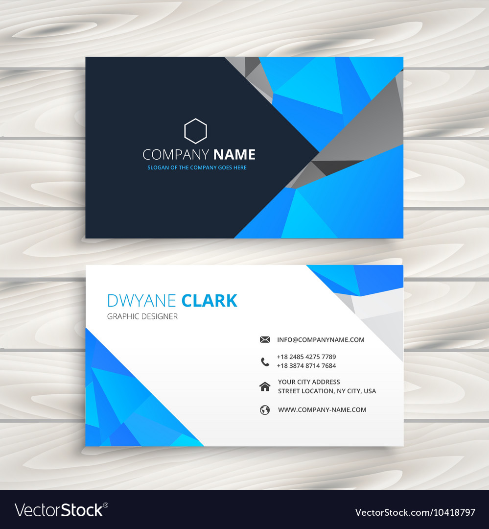 Blue abstract business card template Royalty Free Vector
