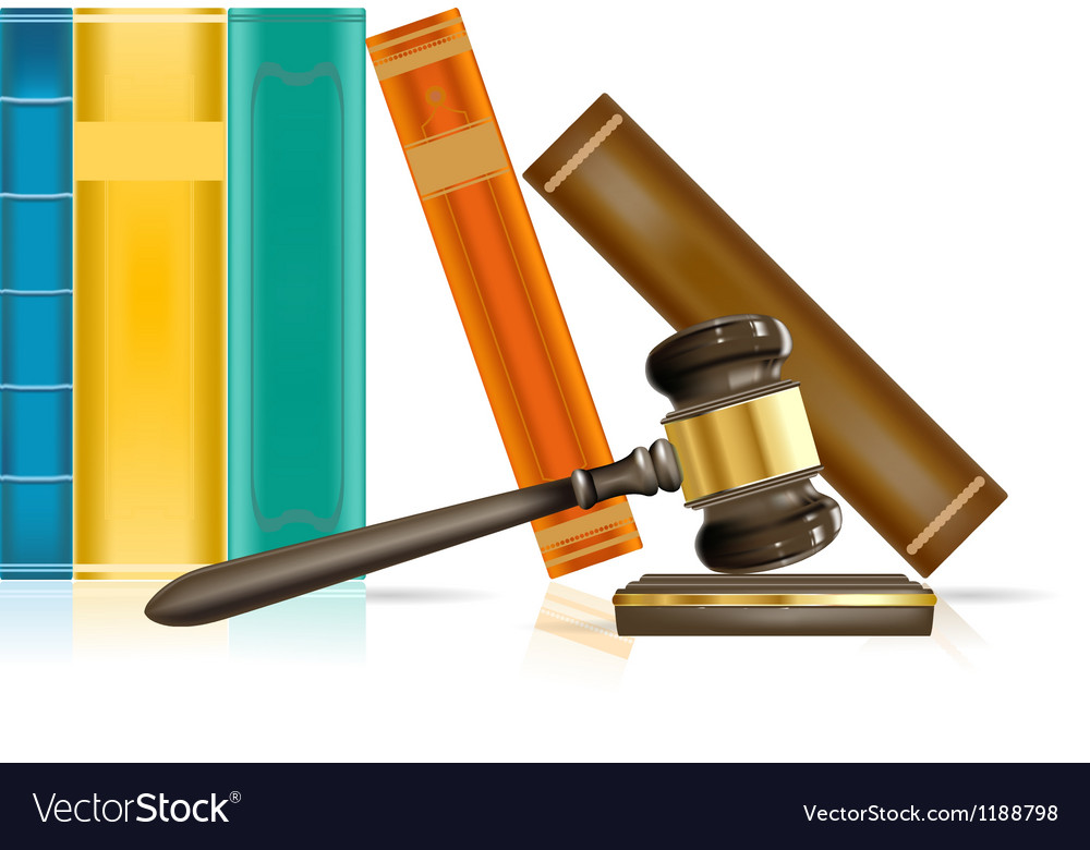 Gavel and books vector image