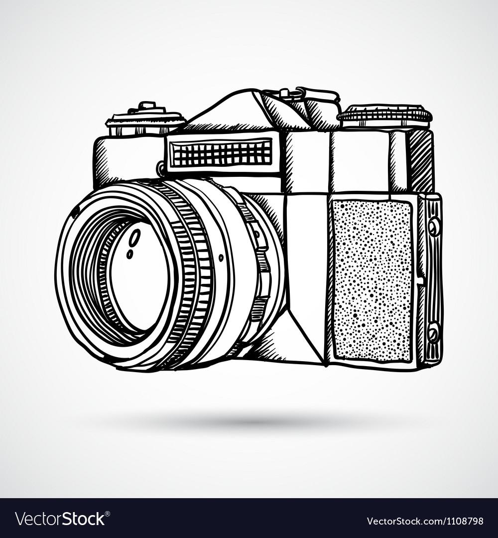 Vintage doodle camera hand-drawn vector image