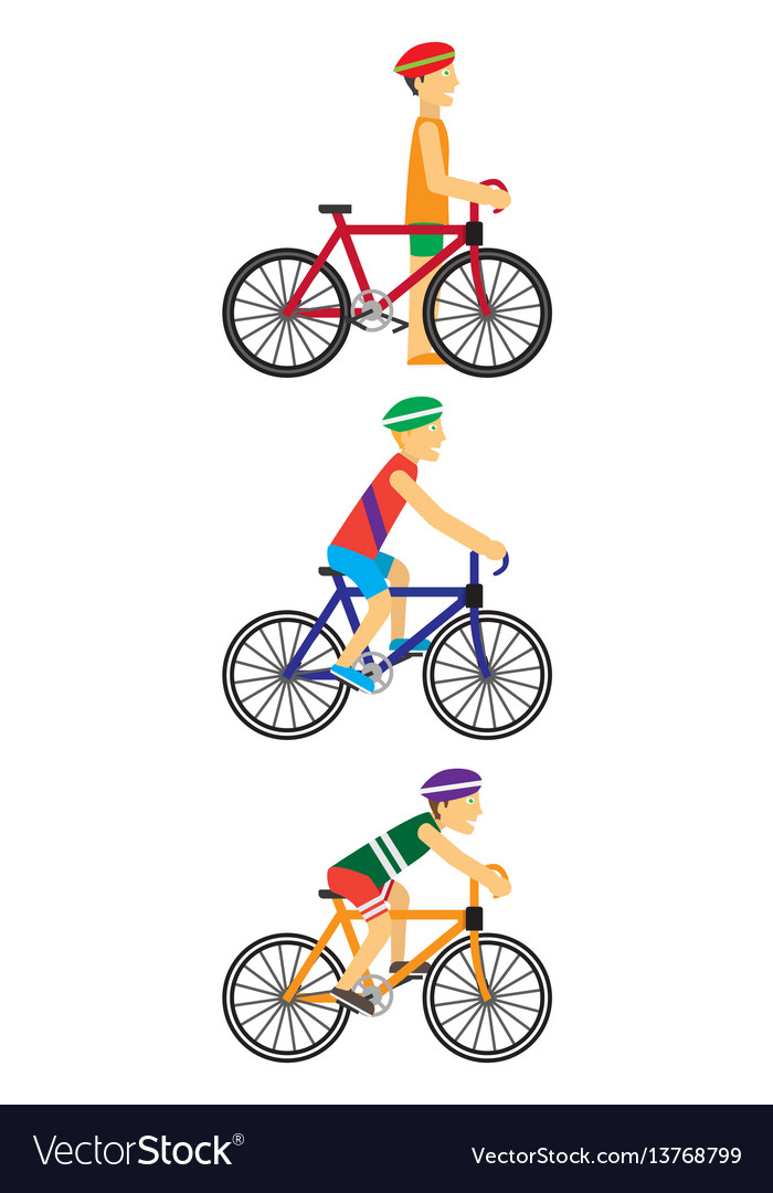 Bicyclists people on bikes vector image
