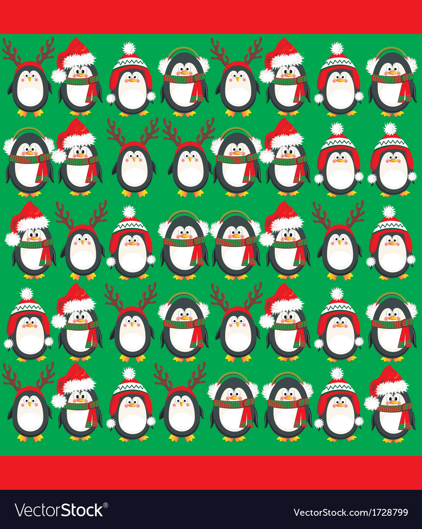 Cute penguins vector image