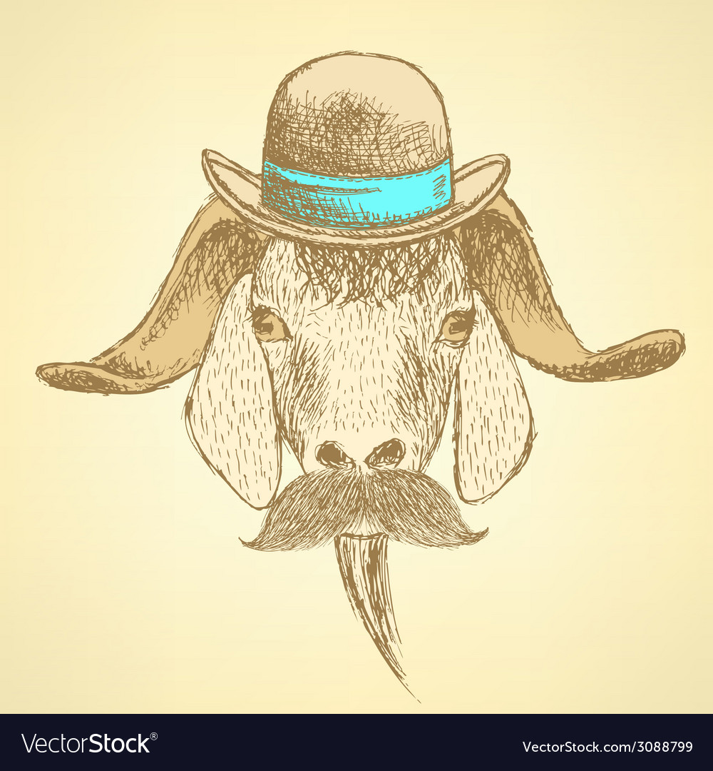 Sketch cute goat in hipster style vector image