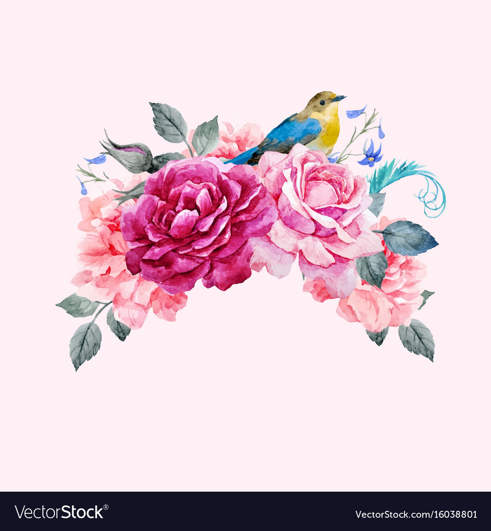 Floral composition with bird vector image