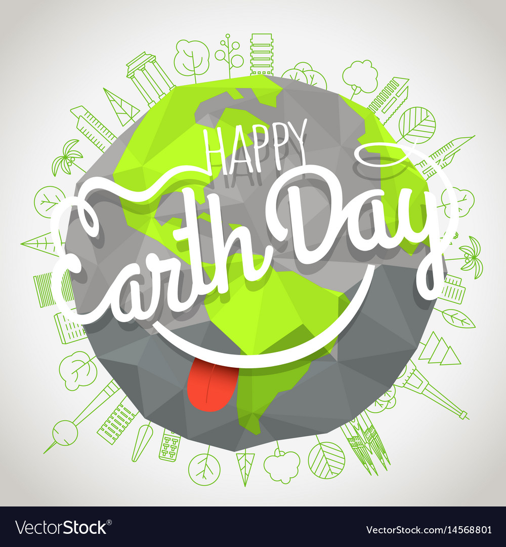 Happy earth day concept logo with the smile vector image