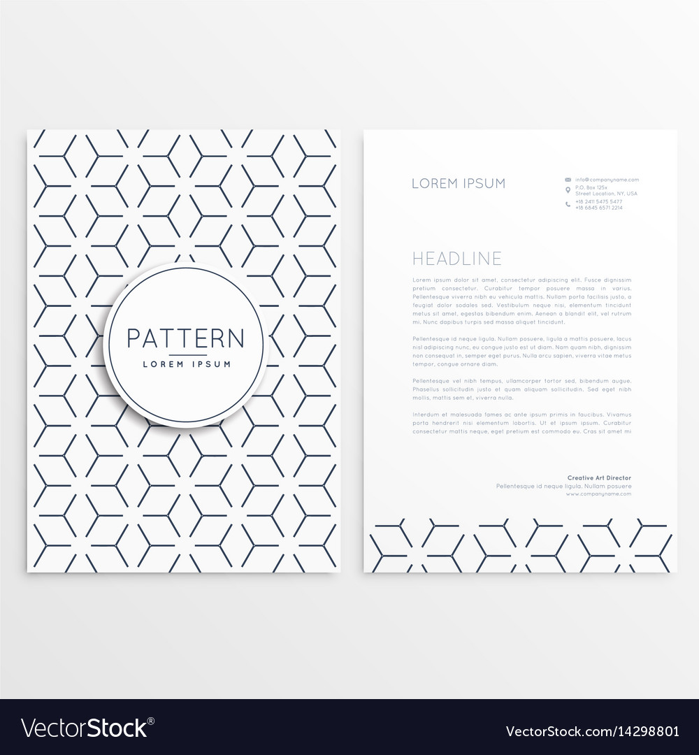 Letterhead template design with pattern shape vector image