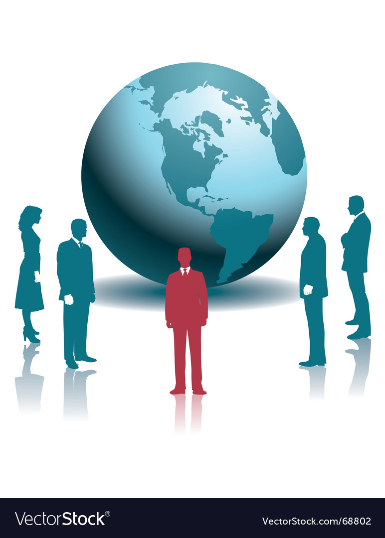 Businesspeople globe vector image