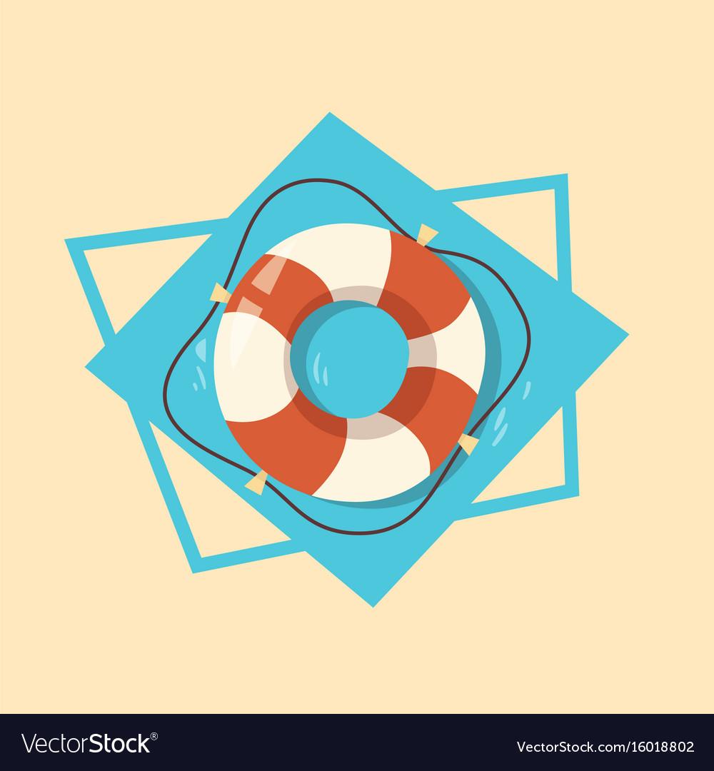 Life buoy icon summer sea vacation concept vector image