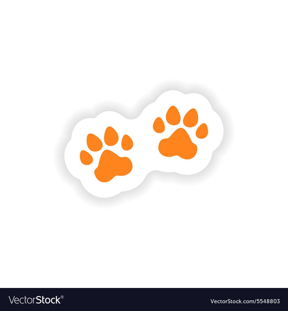 Icon sticker realistic design on paper traces