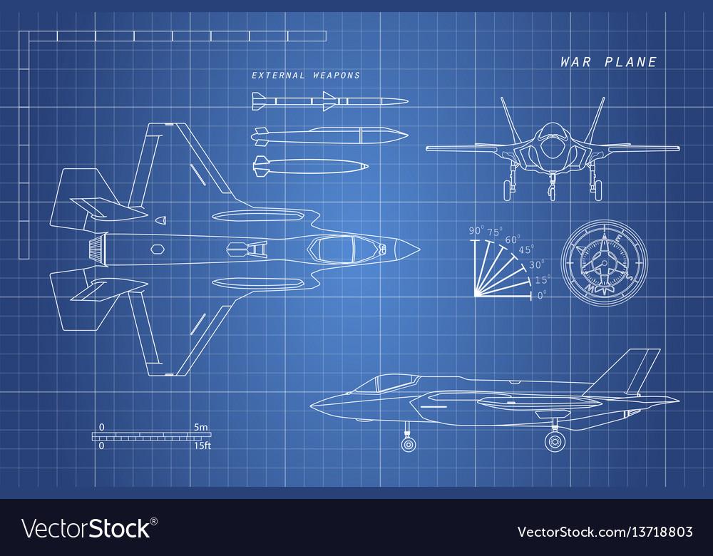 Drawing of military aircraft vector image