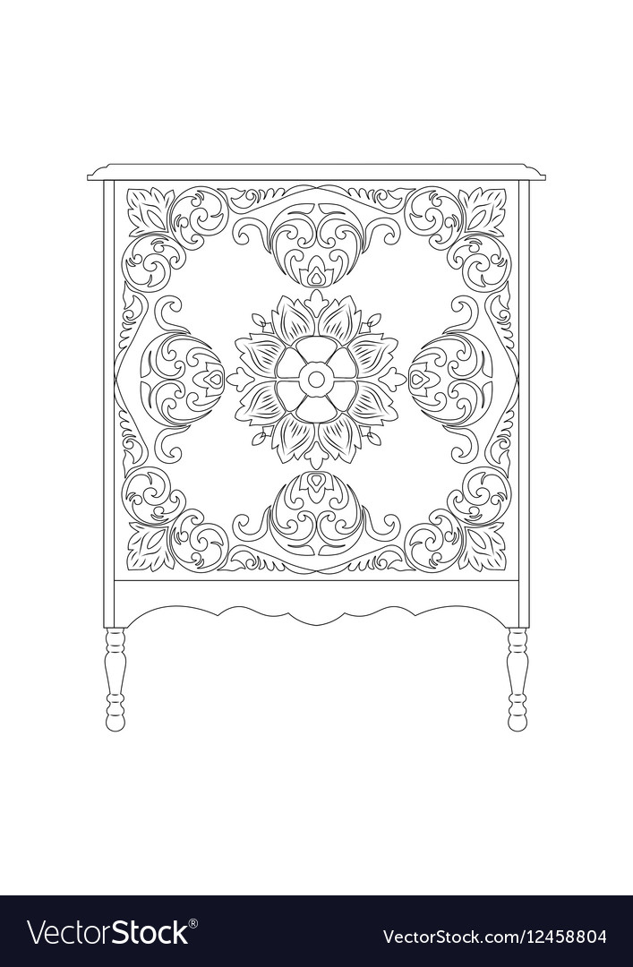 Vintage Rich Commode Table vector image