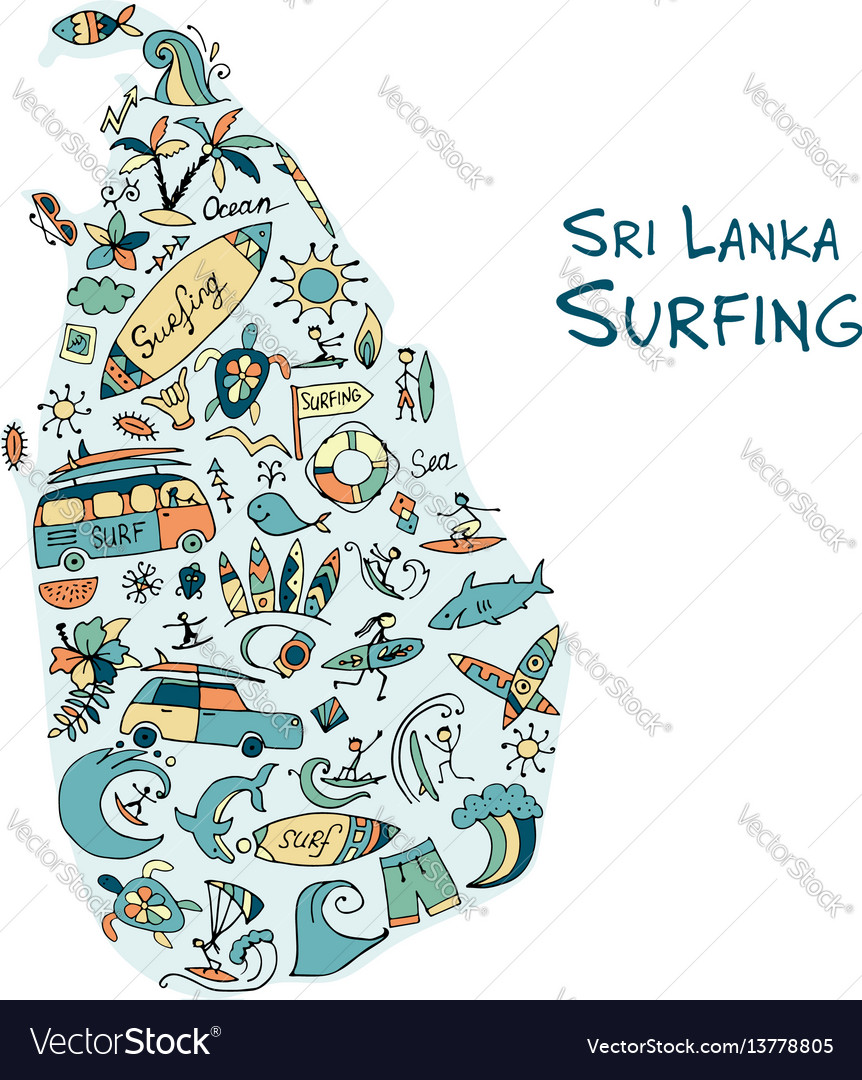Sri lanka surfind design made from surf icons vector image