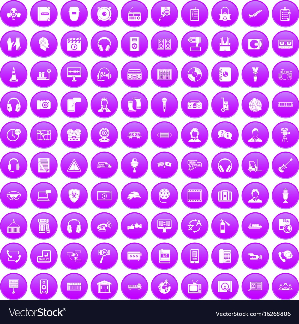 100 headphones icons set purple vector image