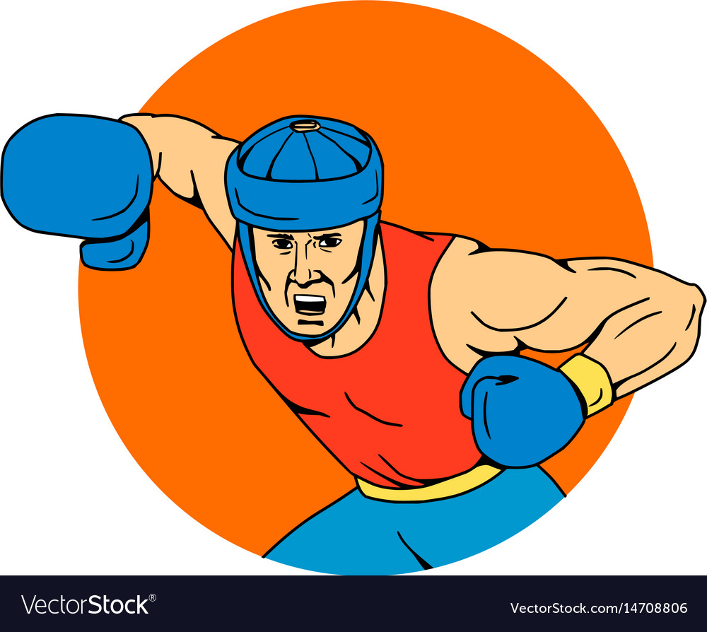 Amateur boxer overhead punch circle drawing vector image